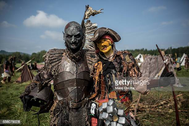 Participants dressed as characters from 'The Hobbit' book by J R R Tolkien pose for photo before the reenactment of the 'Battle of Five Armies' in a...