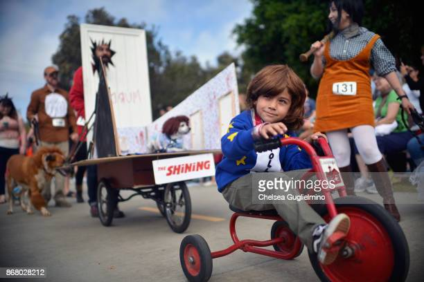 Participants dressed as characters from The Shining at the Haute Dog Howl'oween Parade on October 29 2017 in Long Beach California
