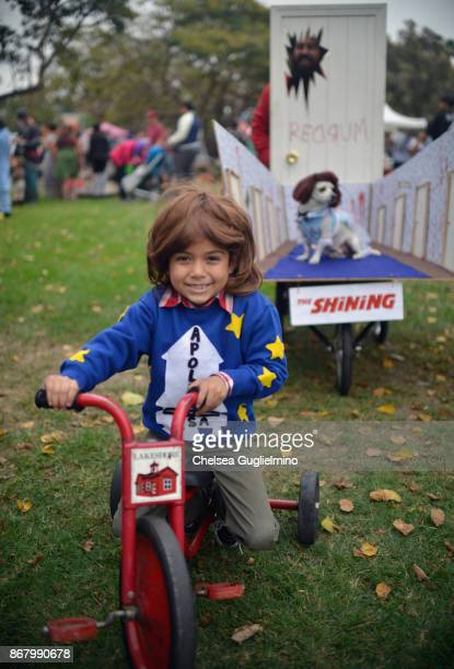Participants dressed as characters from The Shining pose at Haute Dog Howl'oween Parade on October 29 2017 in Long Beach California