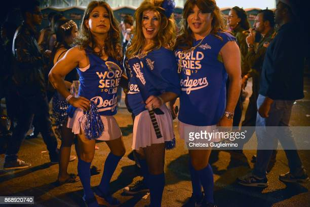 Participants dressed as Dodgers cheerleaders at the West Hollywood Halloween Carnaval on October 31 2017 in West Hollywood California a