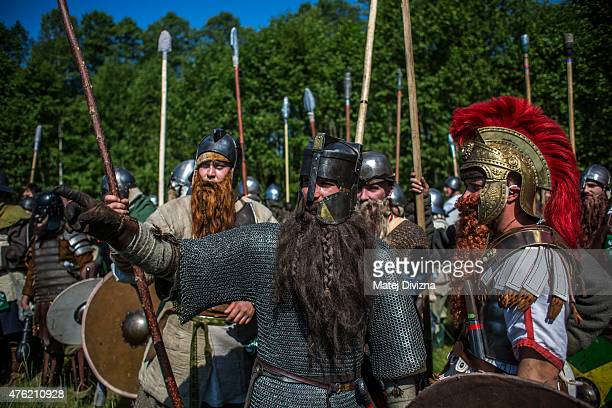 Participants dressed as dwarves characters from 'The Hobbit' book by J R R Tolkien prepare for the reenactment of the 'Battle of Five Armies' in a...