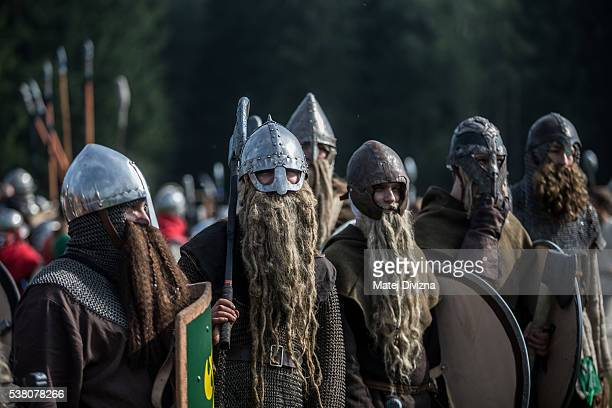 Participants dressed as dwarves, characters from 'The Hobbit' book by J. R. R. Tolkien, prepare for the reenactment of the 'Battle of Five Armies' in...