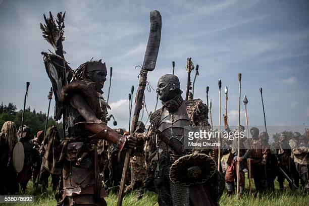 Participants dressed as orcs, characters from 'The Hobbit' book by J. R. R. Tolkien, prepare for the reenactment of the 'Battle of Five Armies' in a...