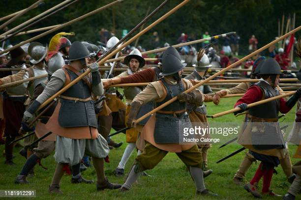 Participants dressed as soldiers prepare with their pickets for battle on October 18 2019 in Groenlo Netherlands For three days the streets of the...