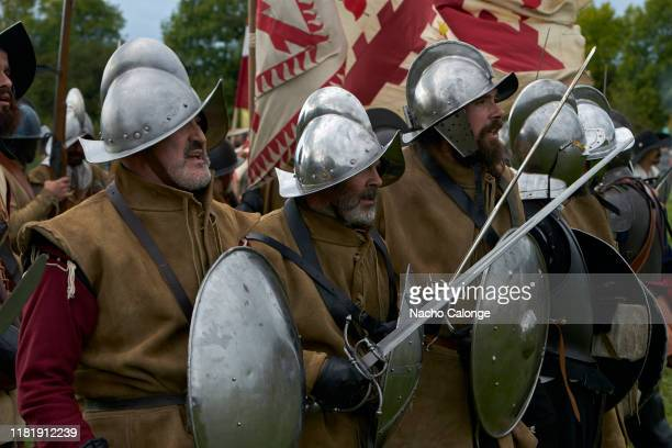 Participants dressed as Spanish army infantry soldiers prepare for battle on October 18 2019 in Groenlo Netherlands For three days the streets of the...