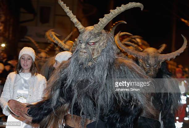 Participants dressed as the Krampus creature walk the streets in search of delinquent children during a Krampus run on November 28, 2015 in Salzburg,...
