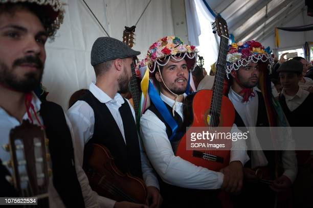Participants dressed in traditional costumes seen waiting before taking part in the 57th edition of Verdiales Flamenco Dance contest in Malaga The...