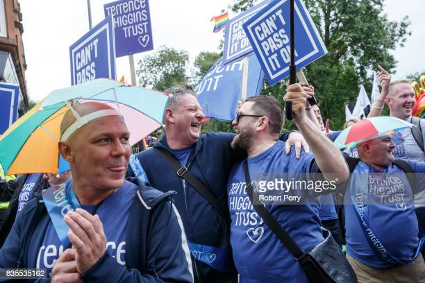 Participants embrace during the Glasgow Pride march on August 19 2017 in Glasgow Scotland The largest festival of LGBTI celebration in Scotland has...