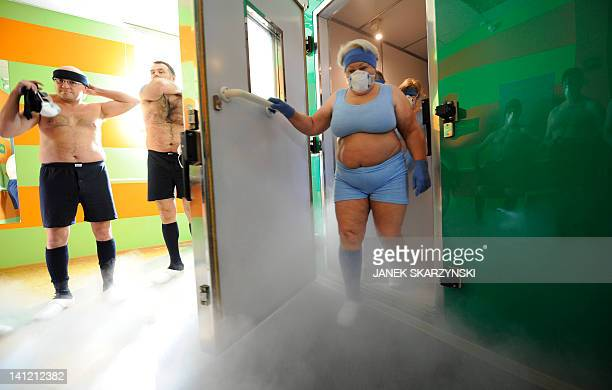 Participants exit the cryotherapy room at the cryotherapy division of the Olympic Sports Centre in Spala 100 kilometres southwest of the Polish...