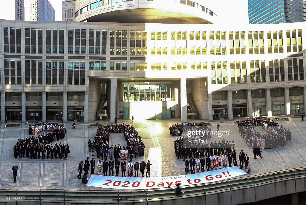 Participants form the shape of 2020 and attent The '2020 Days to Tokyo 2020' Event on January 12, 2015 in Tokyo, Japan. The Tokyo 2020 Organizing Committee and the Tokyo Metropolitan Government celebrate to mark the '2020 Days to Tokyo 2020,' with 20 year-old Tokyoites, which coincides with Coming of Age Day in Japan when those who have turned 20 years old in the past year gather to mark reaching the age of majority.