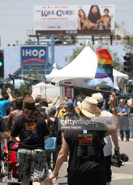 Participants from LGBT at the Gay Pride Parade on Santa Monica Boulvard on June 8 2008 in West Hollywood California