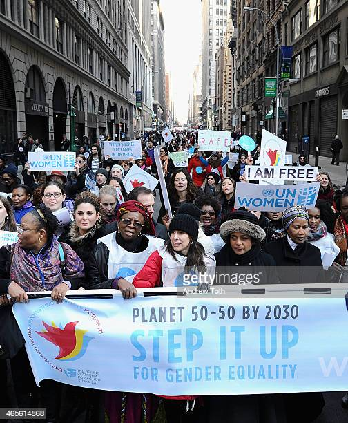 Participants gather during the 2015 International Women's Day March at Dag Hammarskjöld Plaza on March 8 2015 in New York City