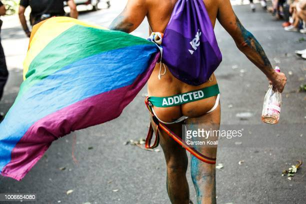 Participants gather for the 40th Christopher Street Day gay pride march on July 28 2018 in Berlin Germany Known as CSD the event attracts thousands...