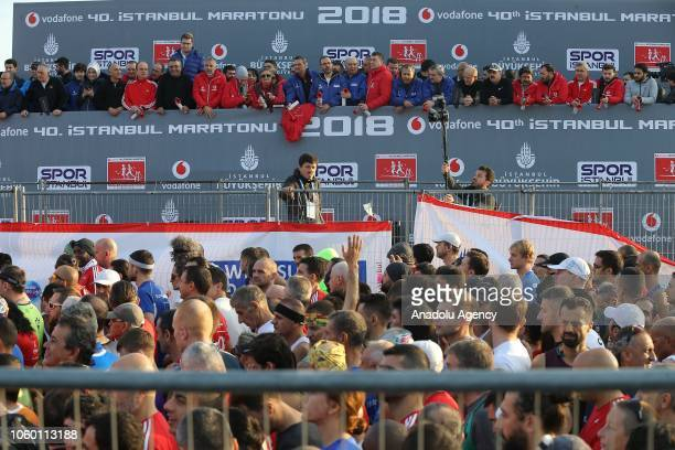 Participants gather for the World's only intercontinental marathon 'Vodafone 40th Istanbul Marathon' in Istanbul Turkey on November 11 2018 About...