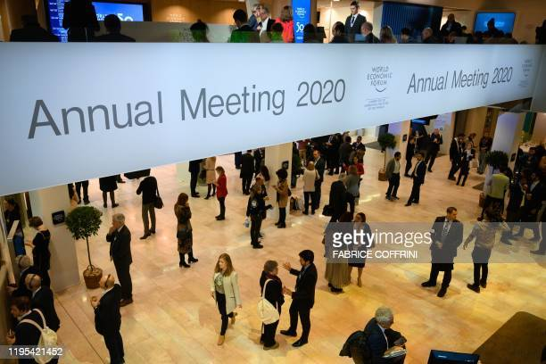 Participants gather in the Congress centre during the World Economic Forum annual meeting in Davos on January 23 2020