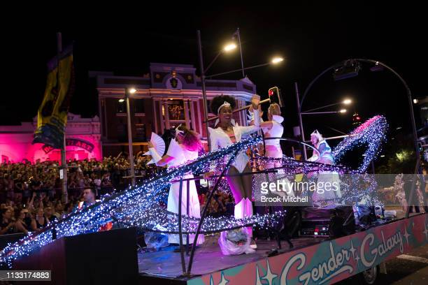 Participants get in the spirit as they make their way down Oxford Street during the 2019 Sydney Gay Lesbian Mardi Gras Parade on March 02 2019 in...