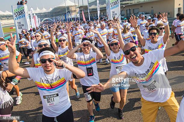 Participants get ready at the start of the Color Run presented by Active life dubbed the Happiest 5km on the Planet at the Abu Dhabi Yas Marina...