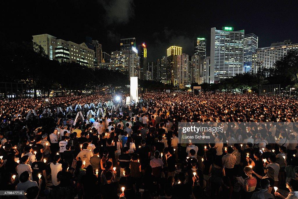 Vigil Held To Mark 26th Anniversary Of The 1989 Tiananmen Square Crackdown : News Photo