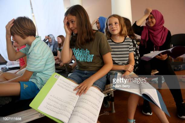 Participants in a children's workshop practice their roles in a dress rehearsal for a play in Yiddish during Yiddish Summer Weimar on July 28 2018 in...