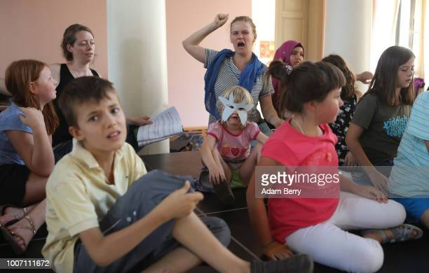 Participants in a children's workshop practice their roles in a dress rehearsal for a play in Yiddish during Yiddish Summer Weimar on July 28, 2018...