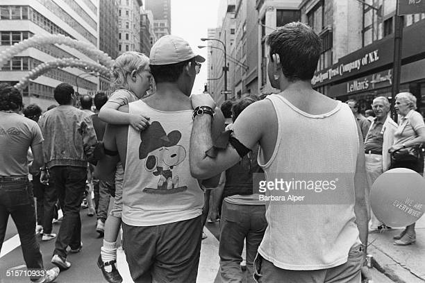 Participants in a Gay Pride march on 5th Avenue New York City June 1985 The man on the right is holding a ballon with the slogan 'We are everywhere'