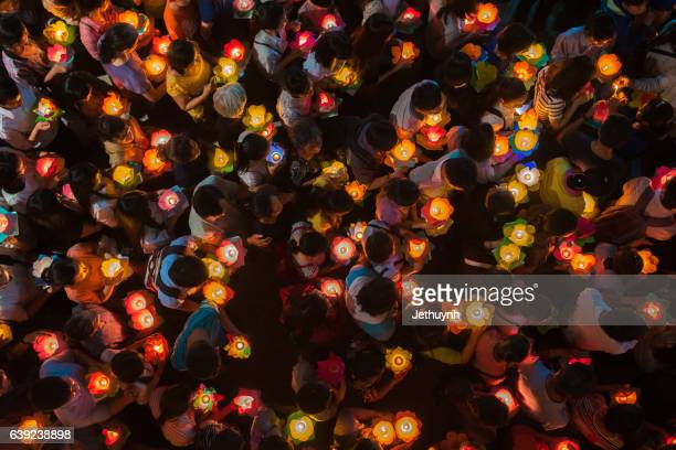 Participants in a parade celebrate Buddhas festival day Vietnam