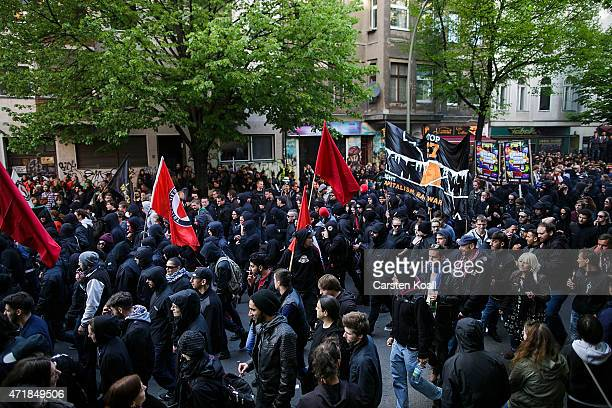 Participants in a 'Revolutionary May 1st' May Day march on May 1 2015 in Berlin Germany Anticapitalist demonstrations on May Day are an annual...