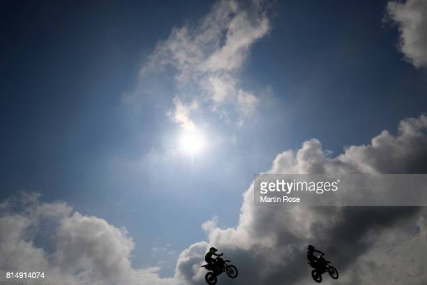 Participants in action during the International German Motocross Championships on July 15 2017 in Tensfeld Germany