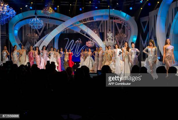 Participants in Miss Venezuela 2017 beauty peageant pose on stage in Caracas on November 9 2016 18yearold law student Sthefany Gutierrez who admires...