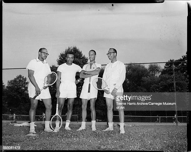 Participants in Pittsburgh Public Parks Tennis Tournament from left Ray Brown or 'Brownie' Wilson Walt Harper Bill 'Billy' Colbert and Dan Kean...