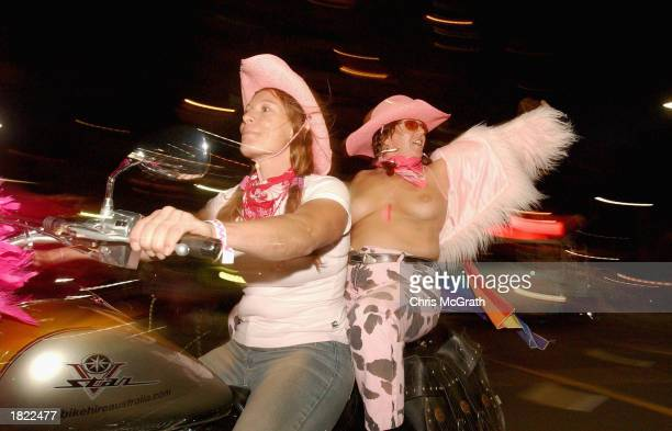 Participants in the 2003 Sydney Gay and Lesbian Mardi Gras parade ride up Oxford Street March 1 2003 in Sydney Australia The Sydney Gay and Lesbian...