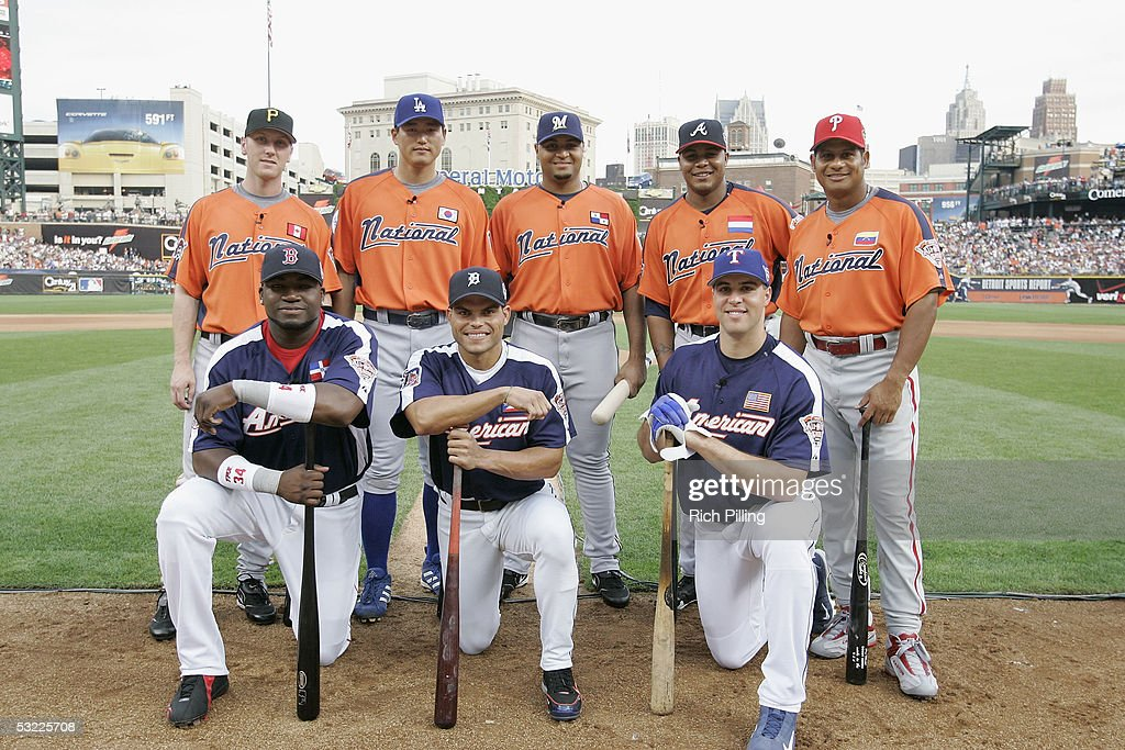 Participants in the 2005 Major League Baseball Home Run Derby pose for a portrait (Back Row) Jason Bay of the Pittsburgh Pirates, Hee-Seop Choi of the Los Angeles Dodgers Carlos Lee of the Milwaukee Brewers, Andruw Jones of the Atlanta Braves, Bobby Abreu of the Philadelphia Phillies; (Front Row) David Ortiz of the Boston Red Sox, Ivan Rodriguez of the Detroit Tigers and Mark Teixeira of the Texas Rangers on July 11, 2005 at Comerica Park in Detroit, Michigan.