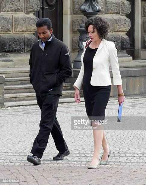 Participants in the 2016 Bilderberg conference Divesh Makan and Yasmine Kherbache sighted at the Dresden Opera House or 'Semperoper' during a group...