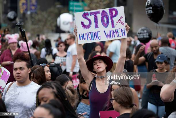 Participants in the 3rd Annual Amber Rose SlutWalk in Los Angeles California October 1 2017 The event seeks to highlight issues such as gender...