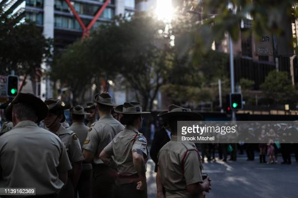 Participants in the ANZAC Day March are pictured in Martin Place on April 25 2019 in Sydney Australia Australians commemorating 104 years since the...