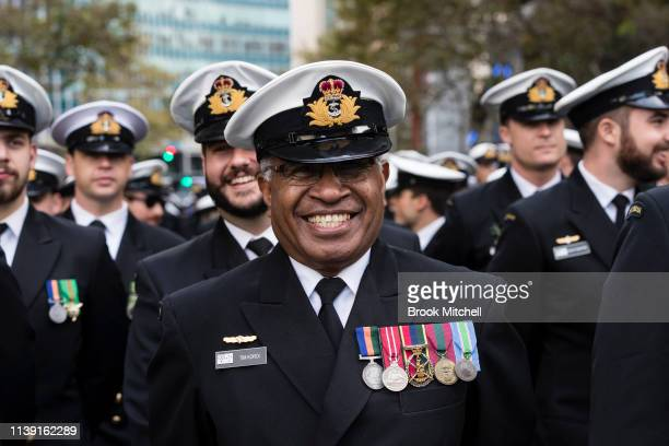 Participants in the ANZAC Day March line up on April 25 2019 in Sydney Australia Australians commemorating 104 years since the Australian and New...