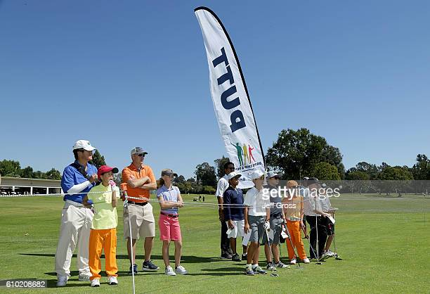 Participants in the boys 79 division wait to participate in the putting competition during a regional round of the Drive Chip and Putt Championship...