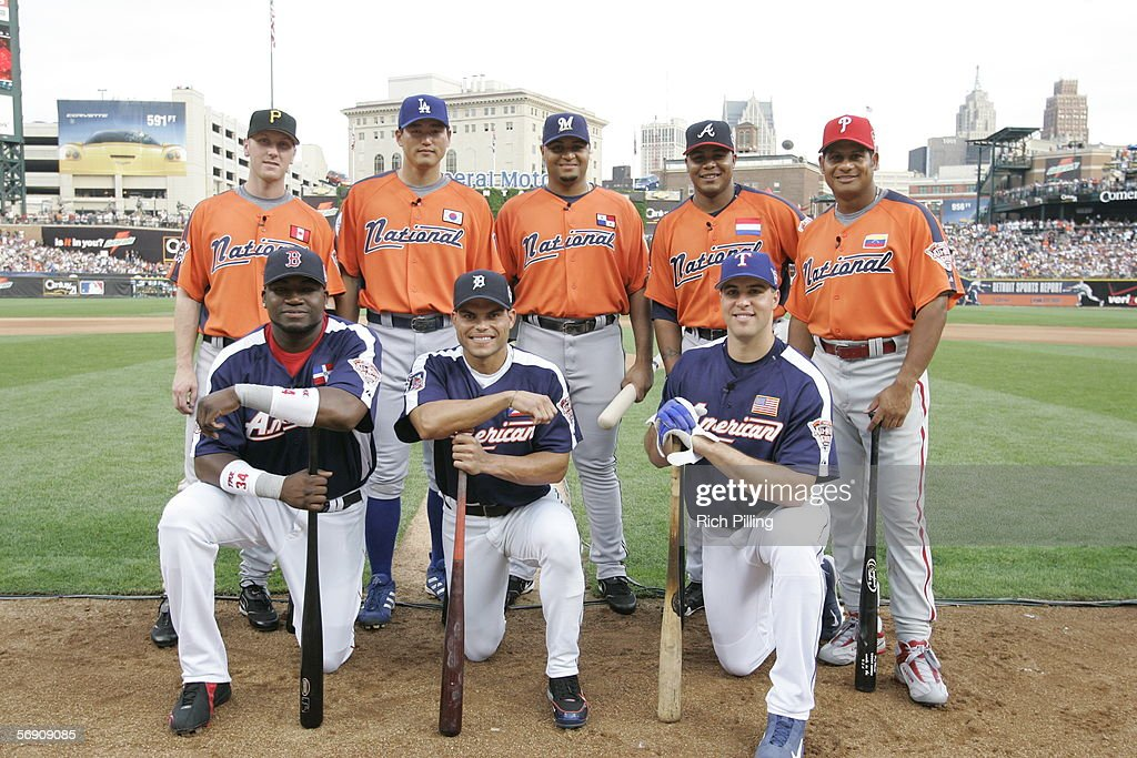 Participants in the CENTURY 21 Home Run Derby are pictured at Comerica Park on July 11, 2005 in Detroit, Michigan. Pictured (front row, from left) are David Ortiz, Ivan Rodriguez, Mark Teixeira, and (back row, from left) Jason Bay, Hee-Seop Choi, Carlos Lee, Andruw Jones, and Bobby Abreu.