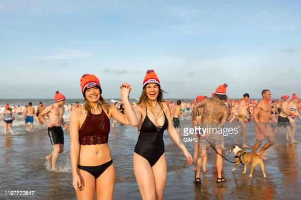 deelnemers aan de nederlandse new year's dive in den haag - nederlandse cultuur stockfoto's en -beelden
