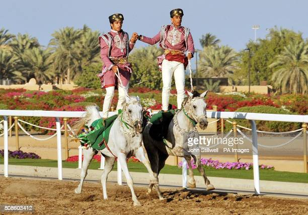 Participants in the Equestrian and Horse Racing show that performed for Queen Elizabeth II and Duke of Edinburgh in the presence of the Sultan of...