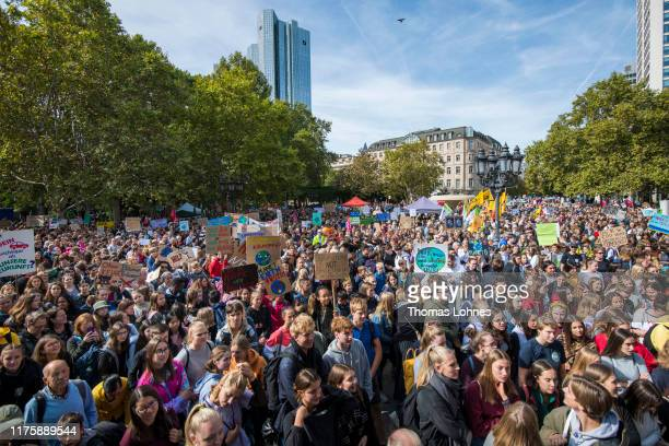 Participants in the Fridays For Future movement protest during a nationwide climate change action day in on September 20, 2019 in Frankfurt, Germany....