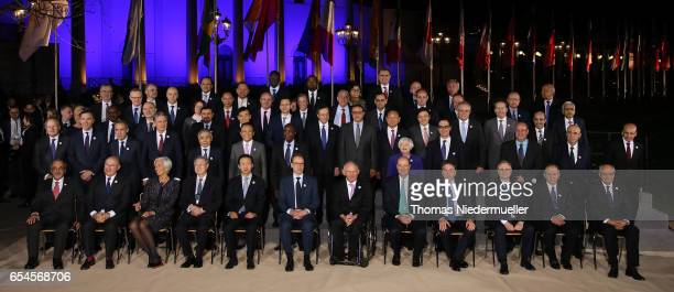 Participants in the G20 Finance Ministers and Central Bank Governors Meeting pose for the Family photo during the G20 finance ministers meeting on...