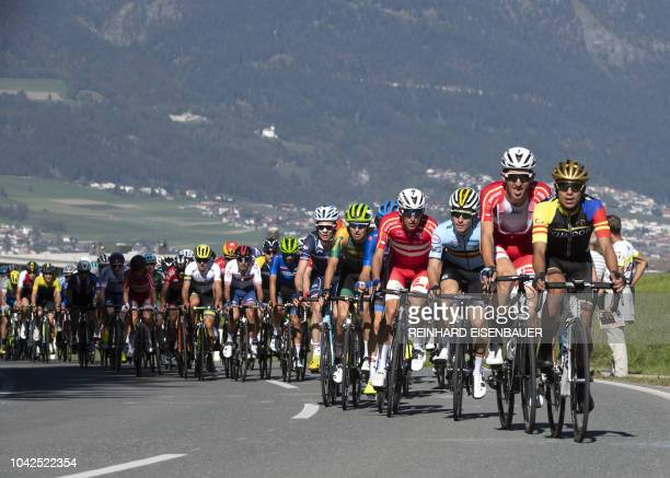 Participant's in the Men's U23 road race between Kufstein and Innsbruck of the UCI road World Championships climb to Igls during the UCI Cycling Road...
