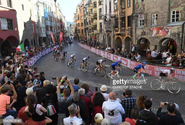 Participant's in the Men's U23 road race of the UCI road World Championships ride in the old city of Innsbruck, Austria, during the UCI Cycling Road...