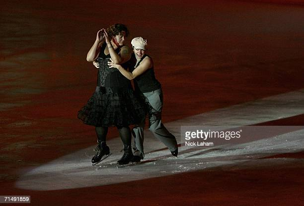 Participants in the pairs skate in the ice gala during the Gay Games VII at the McFetridge Sports Center on July 20 2006 in Chicago Illinois
