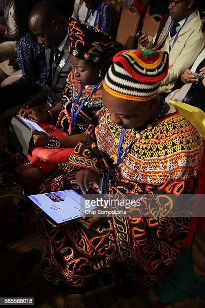 Participants in the Presidential Summit of the Mandela Washington Fellowship for Young African Leaders use a variety of mobile devices including...