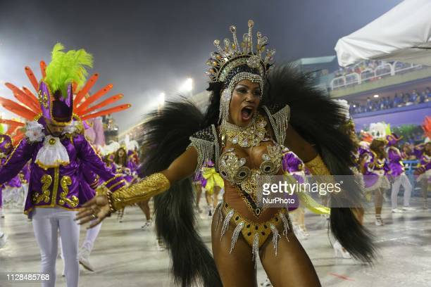 Participants in the samba school parade United Samba School of Bangu during the presentation of the samba schools of group A at Sambodromo da Marques...