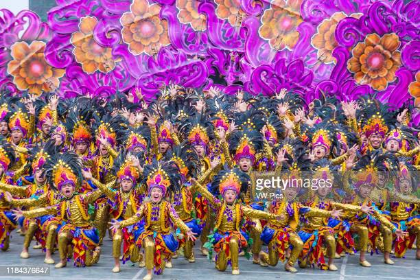 Participants in the Sinulog festival in Cebu city Philippines on January 21 2018 The Sinulog is the centre of the Santo Ni–o Catholic celebrations in...