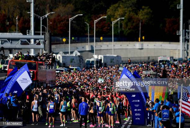 Participants in the TCS New York City Marathon line up for the start of the race on November 03, 2019 in the Staten Island borough of New York City.
