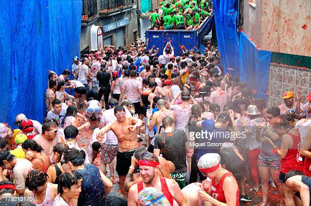 Participants in the Tomatina Festival in Buñol, Spain, the 28 th of August 2013